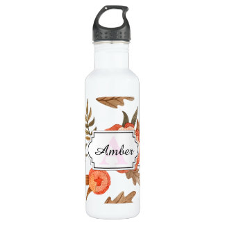 Orange Autumn hand drawn batik flower pattern 710 Ml Water Bottle