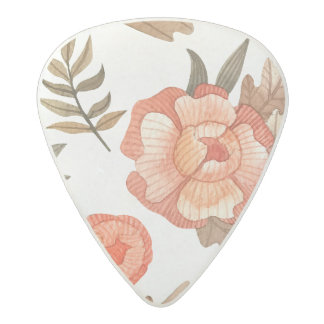 Orange Autumn hand drawn batik flower pattern Acetal Guitar Pick