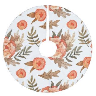 Orange Autumn hand drawn batik flower pattern Brushed Polyester Tree Skirt