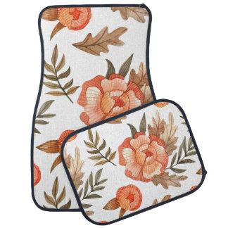 Orange Autumn hand drawn batik flower pattern Car Mat