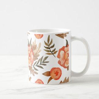 Orange Autumn hand drawn batik flower pattern Coffee Mug