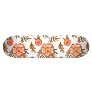 Orange Autumn hand drawn batik flower pattern Custom Skateboard