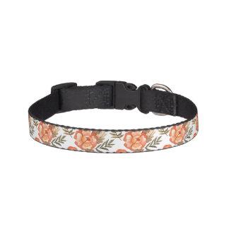 Orange Autumn hand drawn batik flower pattern Dog Collars