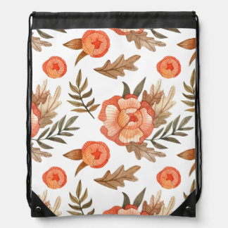 Orange Autumn hand drawn batik flower pattern Drawstring Bag