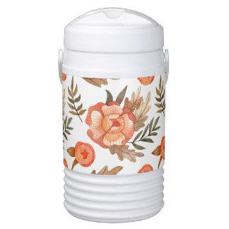 Orange Autumn hand drawn batik flower pattern Drinks Cooler