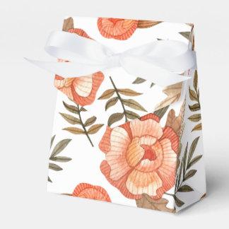 Orange Autumn hand drawn batik flower pattern Favor Box