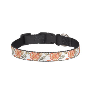 Orange Autumn hand drawn batik flower pattern Pet Collar