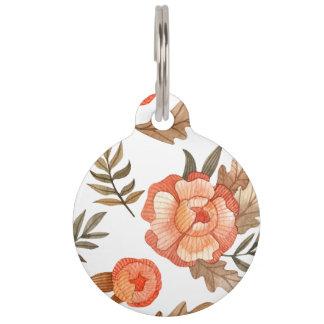 Orange Autumn hand drawn batik flower pattern Pet ID Tag