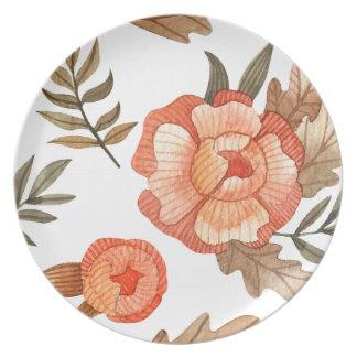 Orange Autumn hand drawn batik flower pattern Plate