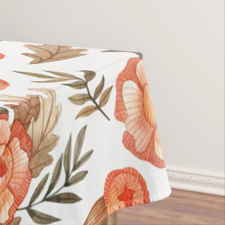 Orange Autumn hand drawn batik flower pattern Tablecloth