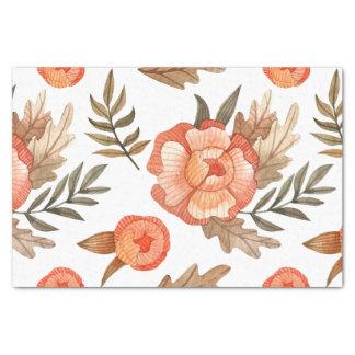 Orange Autumn hand drawn batik flower pattern Tissue Paper