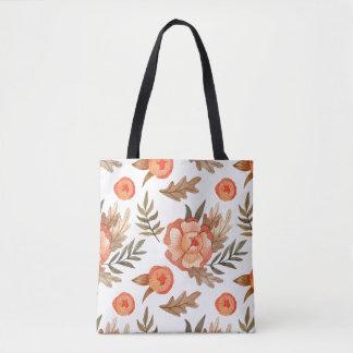 Orange Autumn hand drawn batik flower pattern Tote Bag