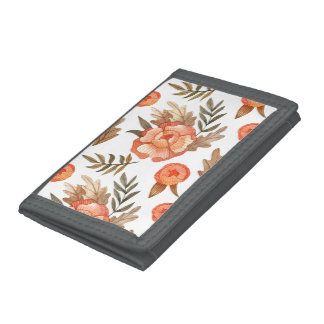 Orange Autumn hand drawn batik flower pattern Trifold Wallet