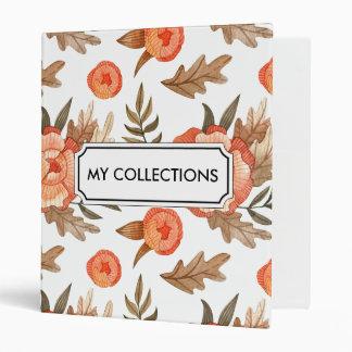 Orange Autumn hand drawn batik flower pattern Vinyl Binder