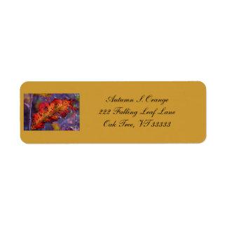 Orange Autumn Leaf Address Labels