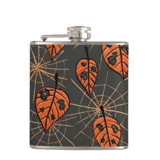 Orange Autumn Leaves And Spiderwebs Pattern Hip Flask