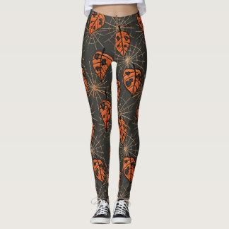 Orange Autumn Leaves And Spiderwebs Pattern Leggings