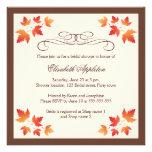 Orange autumn leaves elegant fall bridal shower personalized invites
