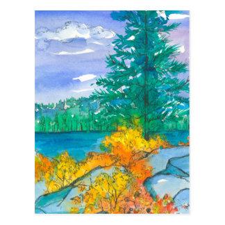 Orange Autumn Leaves Mountain Lake Postcard