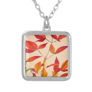 Orange Autumn leaves original watercolour art Silver Plated Necklace
