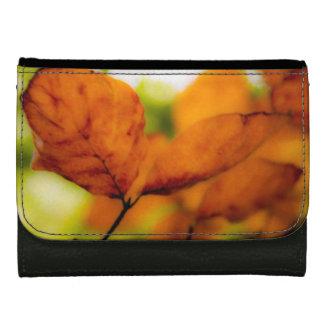 Orange autumn leaves wallet