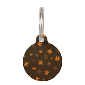 Orange Autumn Oak Leaves Against Dark Brown Pet Name Tag