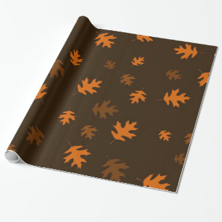 Orange Autumn Oak Leaves Against Dark Brown Wrapping Paper