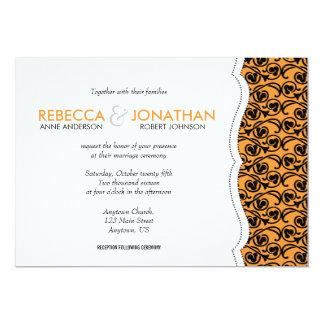Orange avec le mariage noir de recouvrement de carton d'invitation  12,7 cm x 17,78 cm