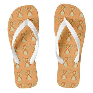 Orange Awareness Ribbon Angel Custom Flip Flops