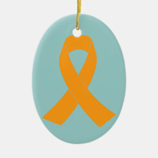 Orange Awareness Ribbon - Leukemia, MS Ceramic Ornament