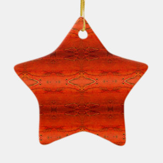 Orange Aztec Pattern Ceramic Star Ornament