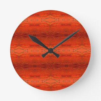 Orange Aztec Pattern Round Clock