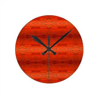 Orange Aztec Pattern Wallclocks