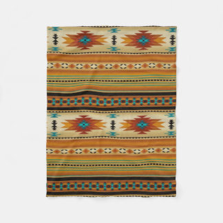 ORANGE Aztec Print Fleece Blanket