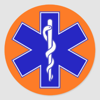 Orange Background Star of Life Classic Round Sticker