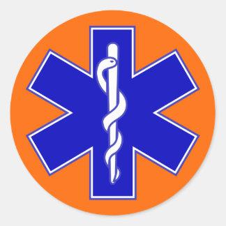 Orange Background Star of Life Round Sticker