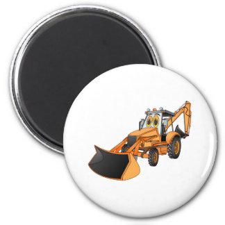 Orange Backhoe Cartoon 2 Inch Round Magnet