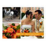 Orange band modern 3 photo montage thank you note post cards