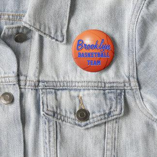 Orange basketball 2 inch round button