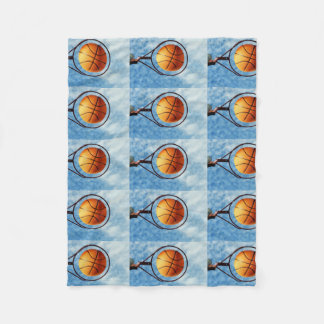 Orange Basketball And Hoop, Fleece Blanket