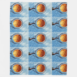 Orange Basketball And Hoop, Large Fleece Blanket