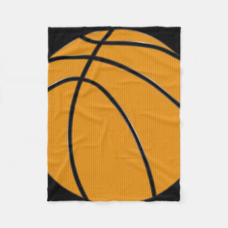 Orange Basketball Design with Black Background Fleece Blanket
