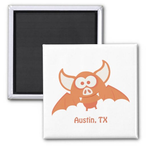 Orange Bat - Austin, TX Magnets