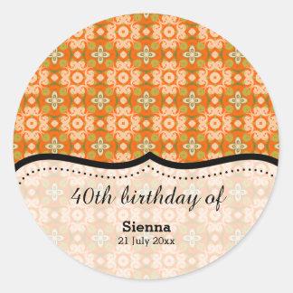 Orange Batik Round Sticker