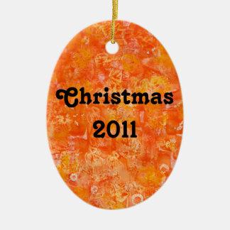 Orange Batik Style Watercolors Ceramic Ornament