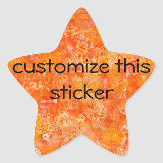 Orange Batik Style Watercolors Star Sticker