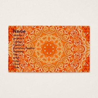 Orange Batik Watercolor Mandala Business Card