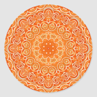 Orange Batik Watercolor Mandala Round Sticker