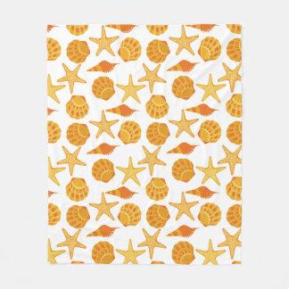Orange Beach Shell Pattern Fleece Blanket