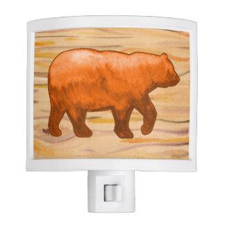 Orange Bear on Woodgrain Nightlight Nite Lites